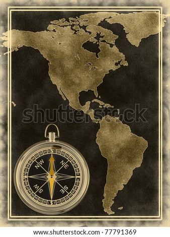 America Map With Compass.Map Compass North South America On Stock Illustration Royalty Free