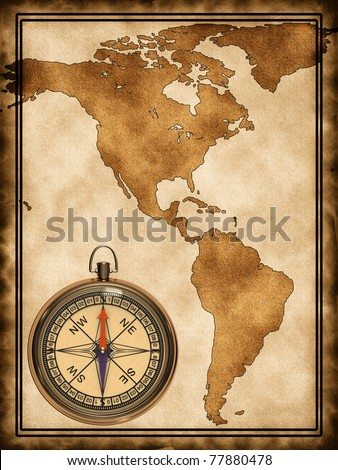 America Map With Compass.Map Compass North South America On Stock Illustration 77880478