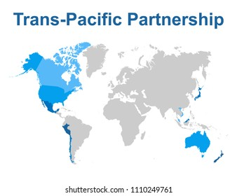 Map of Comprehensive and Progressive Agreement for Trans-Pacific Partnership, CPTPP or TPP11. Blue highlighted member states.