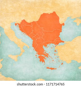 Map with countries of Balkans in soft grunge and vintage style, like old paper with watercolor painting.
