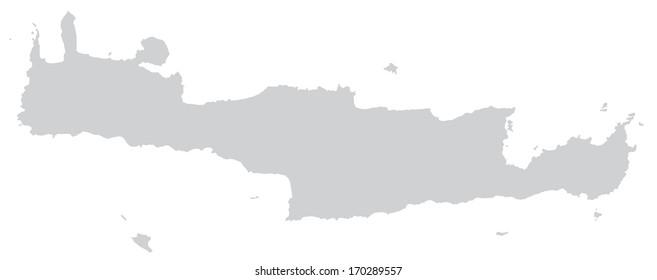 Map of Crete in gray