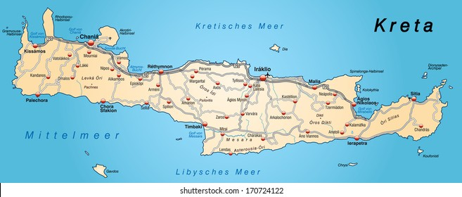 Map of Crete with highways in pastel orange