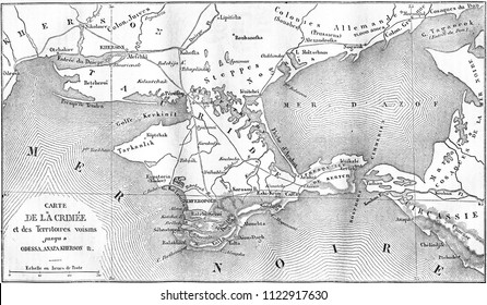 Map of the Crimea, vintage engraved illustration. Magasin Pittoresque 1855.