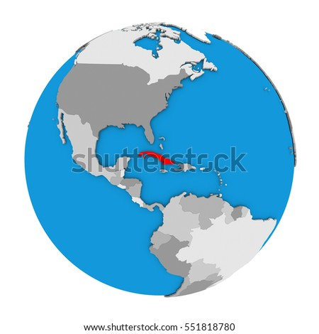 Map cuba highlighted red on globe stock illustration 551818780 map of cuba highlighted in red on globe 3d illustration isolated on white background gumiabroncs Image collections
