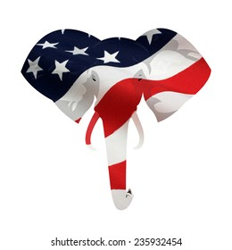 Map displacement of American flag on the Republican elephant symbol. Isolated on white background.