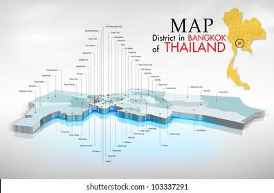 Map district in Bangkok, Thailand