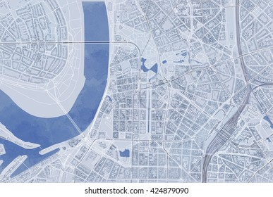 Map of Dusseldorf, satellite view, streets and highways, Germany