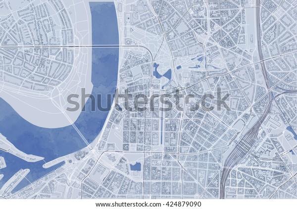 Karte Von Dusseldorf Satellitenansicht Strassen Und