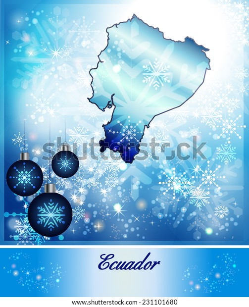 Map Ecuador Christmas Design Blue Arkistokuvitus 231101680