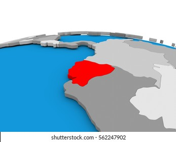 Map of Ecuador highlighted in red on simple globe. 3D illustration