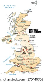 Map of England as an overview map in pastel orange