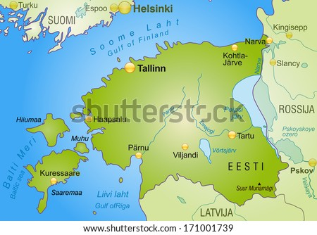 Map Estonia Overview Map Green Stock Illustration 171001739 ...