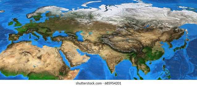 Map of Eurasia. Detailed satellite view of the Earth and its landforms, focused on Europe and Asia. Elements of this image furnished by NASA