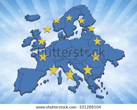 Map of the Europe with blue color and yellow stars. Symbol for the European Union.