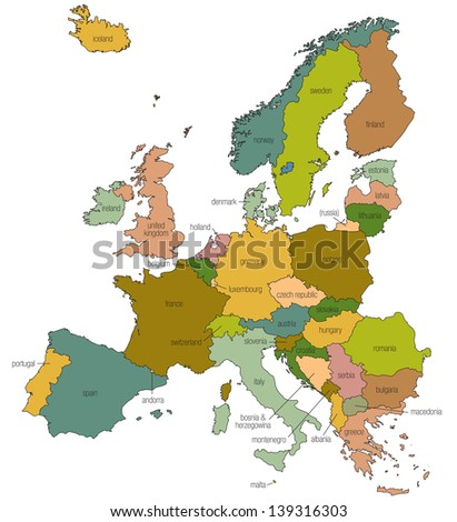 Royalty Free Stock Illustration Of Map Europe Eu Country Names