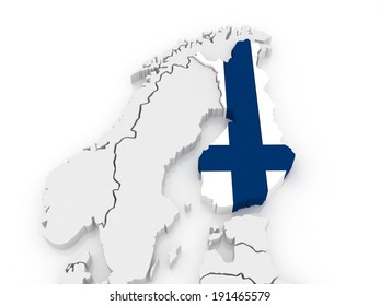 Map of Europe and Finland. 3d