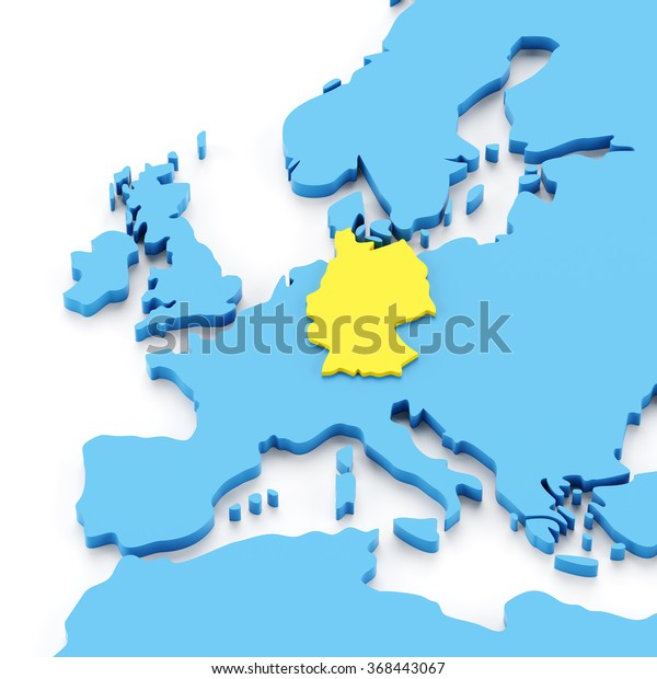 Map Of Europe With Germany Highlighted.Map Europe Germany Highlighted Yellow 3d Stock Illustration 368443067