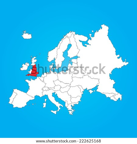 Map Europe Selected Country England Stock Illustration Royalty