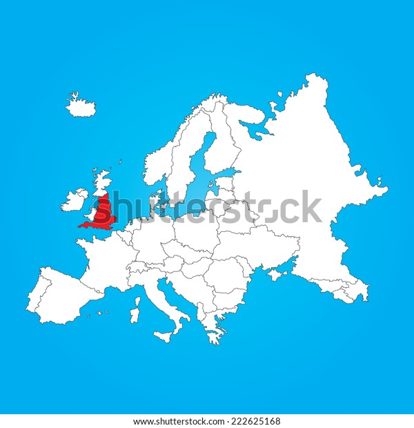 Map Of England And Europe.Map Europe Selected Country England Stock Illustration 222625168