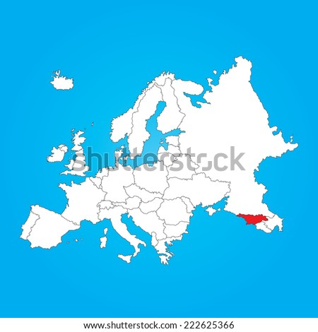 Map Europe Selected Country Georgia Stock Illustration Royalty