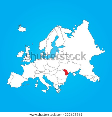Map Europe Selected Country Moldova Stock Illustration 222625369