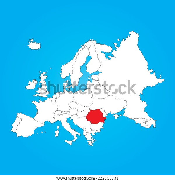 Map Europe Selected Country Romania Stock Illustration 222713731