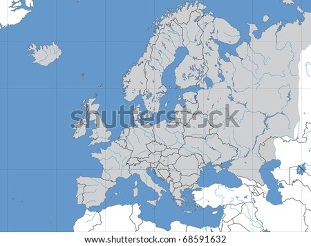 Map Of China With Latitude And Longitude.Map Europe Showing Lines Longitude Latitude Stock Illustration