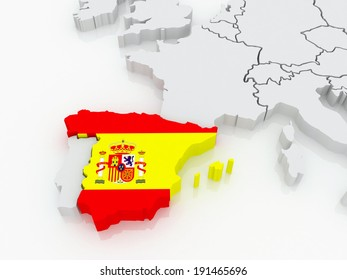 Map of Europe and Spain. 3d