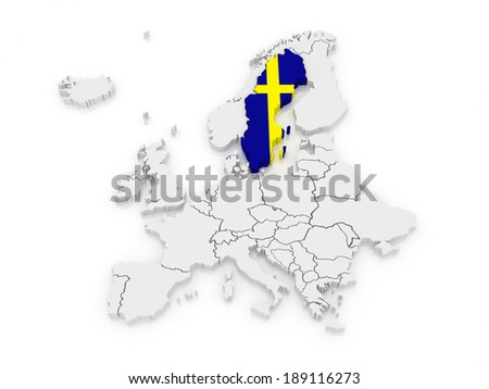 Royalty Free Stock Illustration Of Map Europe Sweden 3 D Stock