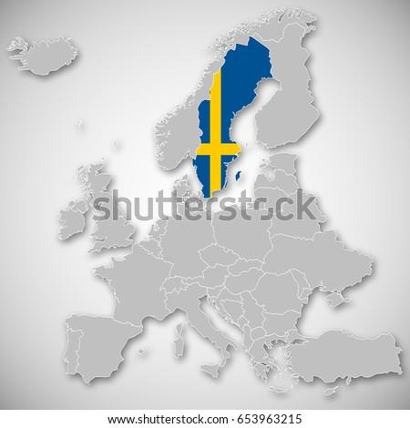 Map Europe Sweden Stock Illustration 653963215 Shutterstock
