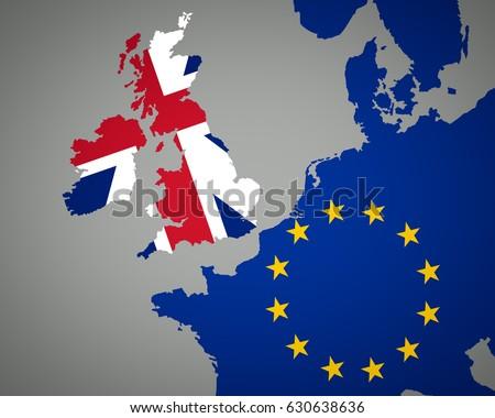 Map Europe Union Jack England Eu Stock Illustration 630638636