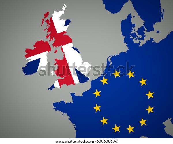 Map Of Europe England.Map Europe Union Jack England Eu Stock Illustration 630638636