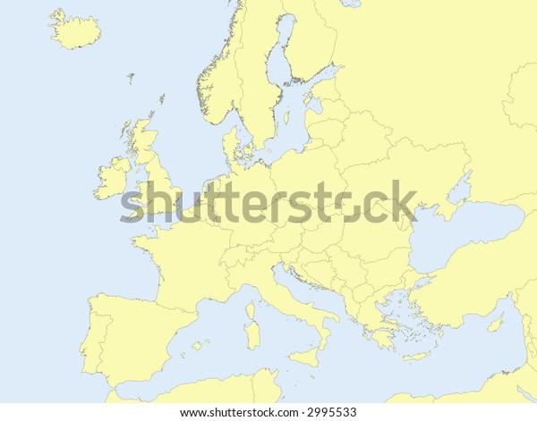 Map of europe with yellow surface and blue sea