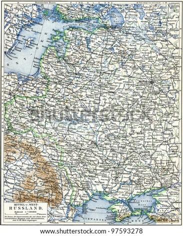 Map European Part Russian Empire Publication Stockillustration ...