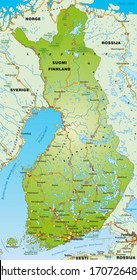 Map of Finland with highways