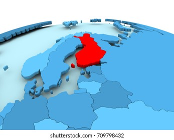 Map of Finland in red on blue political globe. 3D illustration.