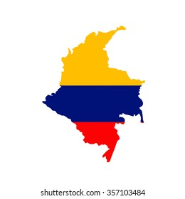 Map and flag of Colombia