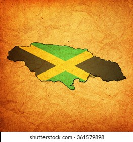 map with flag of jamaica with national borders
