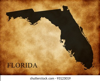 Map of Florida on the old background