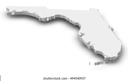 Map - Florida (United States) - 3D-Illustration