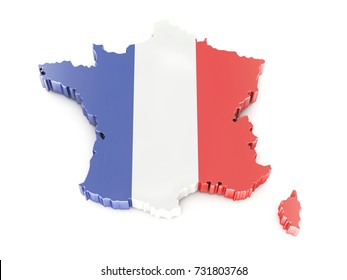 Map of France. 3D Rendering
