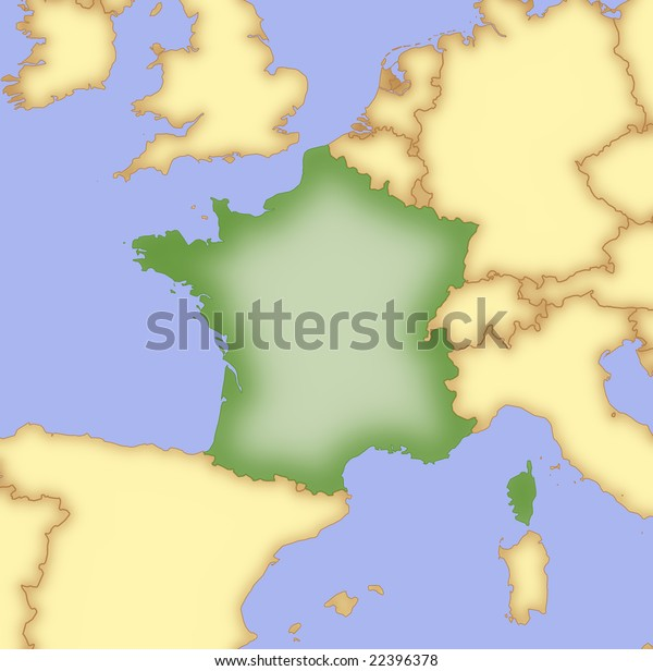 Map Of France And Bordering Countries.Map France Borders Surrounding Countries Stock Illustration 22396378