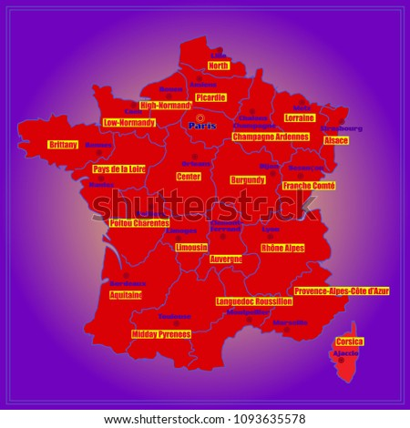 Map Of France Regions And Cities.Map France Bright Illustration Map Illustration Stock Illustration