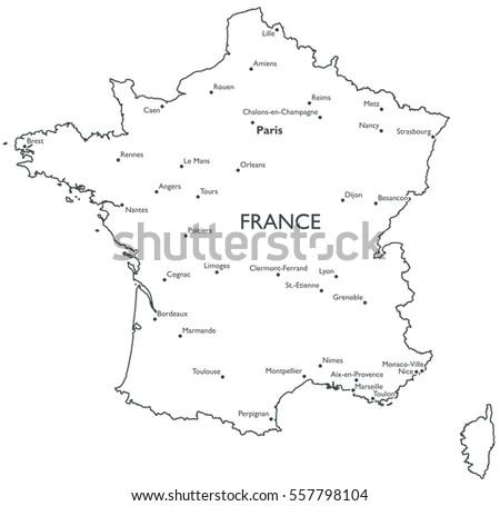 City Map Of France.Map France Monochrome Contour Map City Stock Illustration 557798104