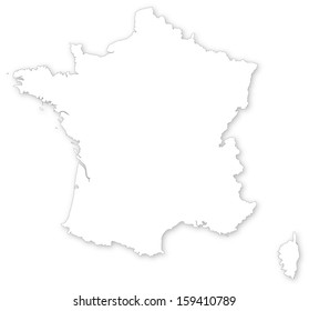 Map of France on white background with shadow isolated on white projected in UTM geographic coordinate system.