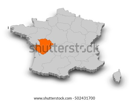 Poitou France Map.Royalty Free Stock Illustration Of Map France Poitou Charentes 3 D