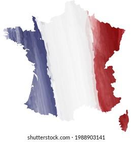 Map of France in watercolor tricolor background. Prise de la Bastille 14 juillet. Bastille day 14 july. Bonne fete nationale. French National Day. Viva la France. French revolution.