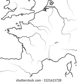 Map of The FRENCH Lands: France & its regions (Île-de-France, Champagne, Normandie, Bretagne, Aquitaine, Occitanie, Provence, Burgundy, Lorraine, Elsass).  Geographic chart with coastline and rivers.
