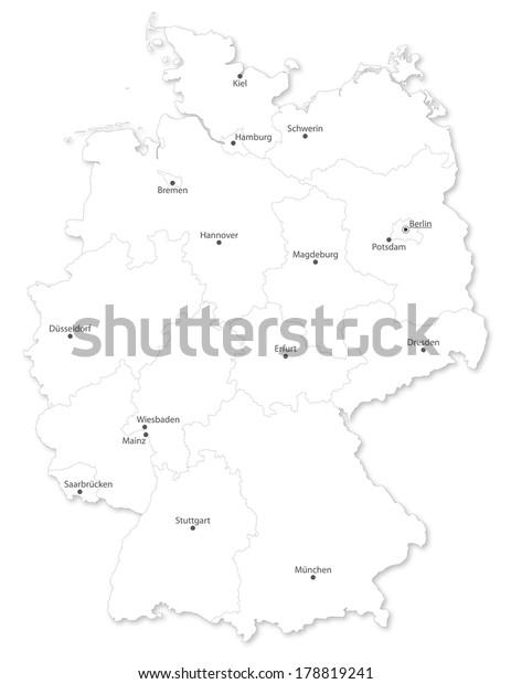 Map German States Cites De Names Stock Illustration 178819241