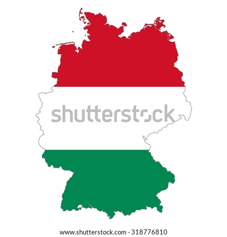 Map Of Germany And Hungary.Map Germany Hungary Flag Colors Hungarians Stock Illustration